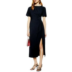 TOPSHOP 6 Navy Blue Side Slit Midi Dress FLAW